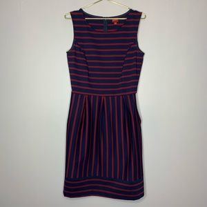 Peplum America Dress Navy Red Medium